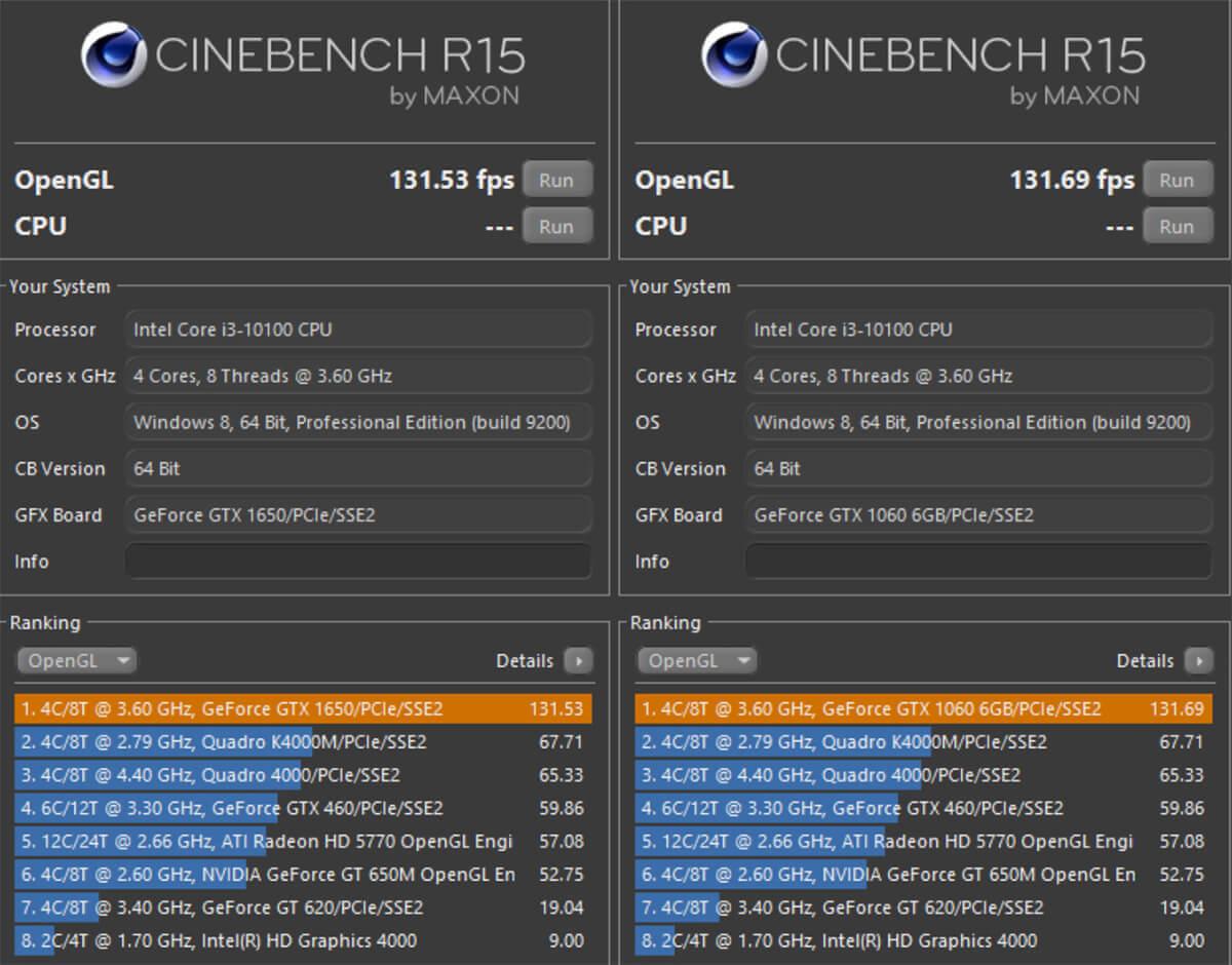Cinebench Scores Gtx 1650 Vs 1060