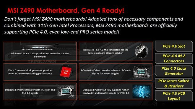 Các bo mạch chủ MSI Z490 sẽ hỗ trợ PCIe 4.0 trên Rocket Lake-S